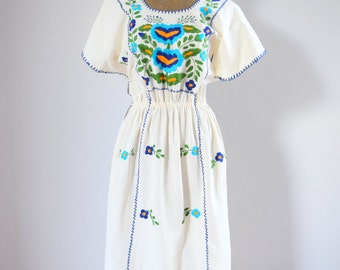 Hand Embroidered Raw Cotton Mexican Summer Dress, Flowers and Vines