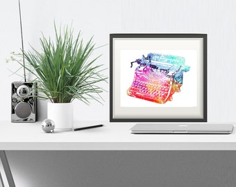 Gifts for Writers - Vintage Typewriter Print, Gifts for Authors, Typewriter Art, Writer Gift, PRINTABLE, Office Poster, Home Office Art