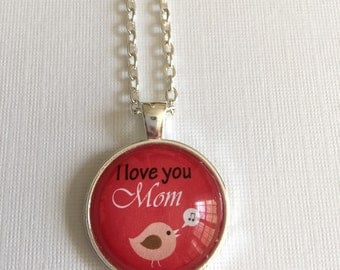 I love you Mom : Glass Dome Necklace, Pendant or Keychain Key Ring. Gift Present metal round art photo jewelry by Bohemian Marv