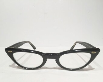 Small Black 1960's Cat Eye Eyeglasses by Comet Optical, Vintage Black Cateye Glasses Frames, Shiny Black Cateye Frame, Rockabilly Indie Chic