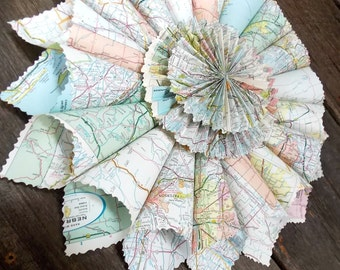 Vintage Map Paper Wreath - Shabby Chic - Vintage Wreath - Paper Wreath - Wedding Decor - Home Decor - Around the World - Antique Map