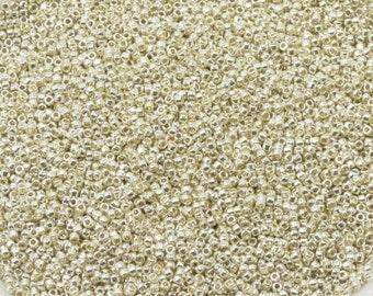 15/0 TOHO SEED BEADS - Permanent Finish Galvanized Silver - Silver Seed Beads - Toho PF558 - 10 grams