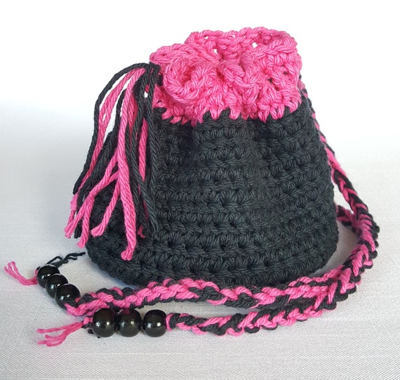 Crochet Round Pouch : Crocheted Pouch, Crocheted Bag, Trinket Bag, Cotton Crocheted Pouch ...