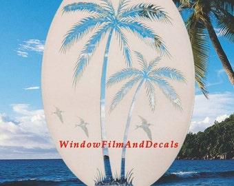 "Left Leaning Palm Trees Oval Static Cling Window Decal 10.5"" x 16"" - White w/Clear Design"