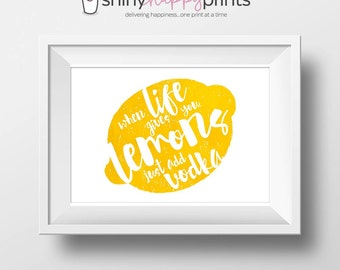 Vodka Lemon Digital Bar Print, Life Lemons Lemonade, Instant Download Whimsical Bar Wall Art, 8x10 Vodka Lemonade Sign, Shiny Happy Prints