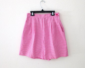 80s Pink and White Checkered Houndstooth Golf Shorts Size Small Medium Girly Sporty High Waist Shorts with Elastic Waist