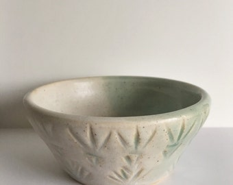 Carved Green and White Bowl