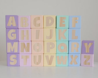 SINGLE SIDED Alphabet Blocks...Wooden Baby Stacking Toy