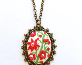 Red Flower Necklace - Polymer Clay Necklace - Mother's Day gift - Birthday gift - Gift for her - Clay Necklace - Clay jewelry - OOAK