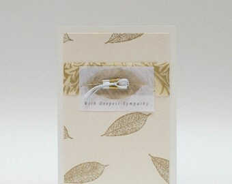 """Handmade Greeting Card - """"With Deepest Sympathy"""" Leaf Element on Fine Art Paper"""