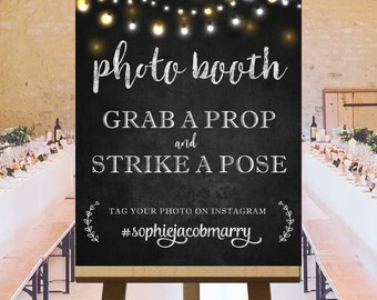 Customized photo booth sign, photo booth printable sign, large chalkboard wedding signs, photo booth chalkboard printable, rustic DIGITAL