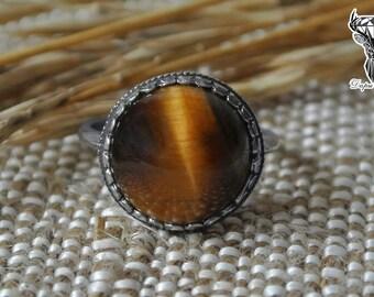 Tiger eye ring, boho style ring, statement ring