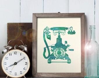 Vintage Telephone Art - 8x10 printable digital file - INSTANT DOWNLOAD!