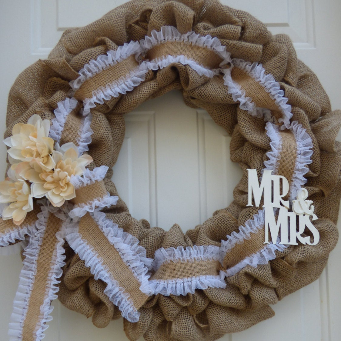 Wedding wreaths bridal shower wreaths bridal shower for Burlap wreath with lights