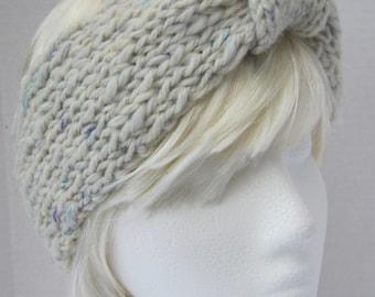 Headband/Earwarmer hand knitted in natural cream hand spun winter weight chunky wool