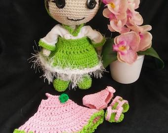 Amigurumi crocheted doll Ellina