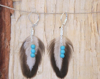 "Western Boho /Feather Bohemian Earrings /  Turquoise Beads / 2.5"" hanging earrings"
