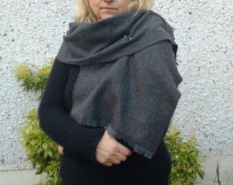 Irish tweed wool  shawl , oversized scarf , wrap, stole - gray / charcoal - 100% wool - HANDMADE IN IRELAND