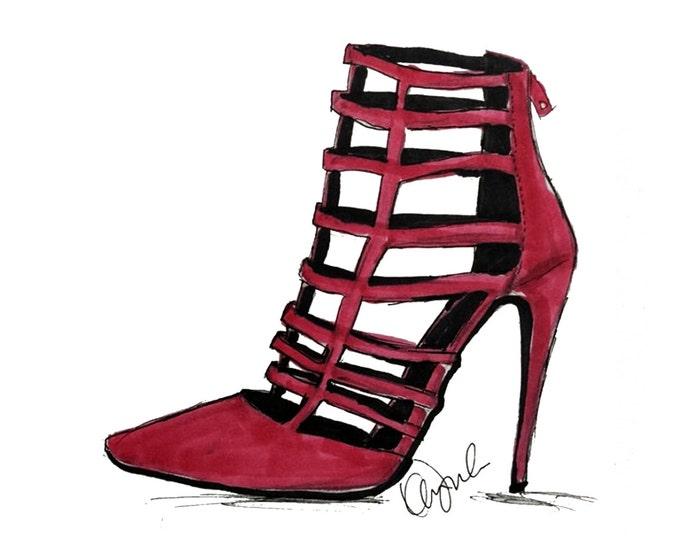 Featured listing image: Fashion Illustration print. Pink high heel Stilettos, Shoe Illustration, Fashion Fun Art, Red pumps, Bootie