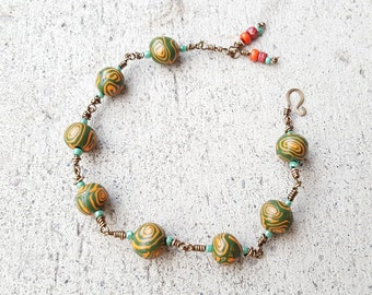 Green and Orange Beaded Wire Wrapped Bracelet,Colorful Chain Link Bracelet,Green Clay Bead Bracelet,Wire chain Beaded Bracelet