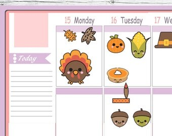 Kawaii Thanksgiving Harvest Fall Stickers To Use With Erin Condren Planner
