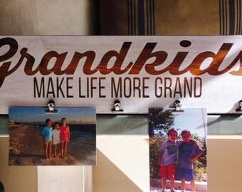 Grandkids Make Life More Grand Photo Holder, Mother's Day Gift, Grandparent Gift, Grandparents Day Gift, Grandkids Photo Frame, Rustic Frame