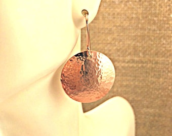 """Hammered copper disc earrings, small, with artisan silver ear wires; Peen hammered copper disc earrings, 7/8"""" diameter with sterling wires."""