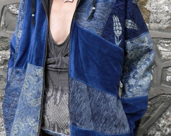 Night Sky Blues Patchwork Hooded  Jacket  Size M