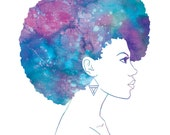 Blue Afro Art Print / Limited Edition / Square Watercolour illustration / Watercolor poster / blue purple woman modern decor vivid colour