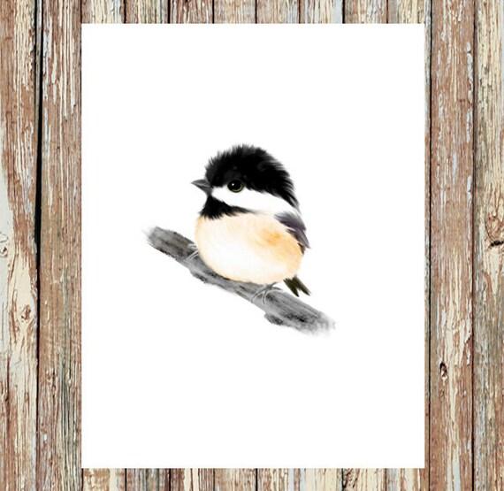 Chickadee Print Baby Bird Prints Baby Animals Baby Animal