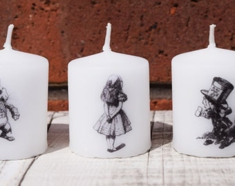 Alice in Wonderland inspired votive candle trio
