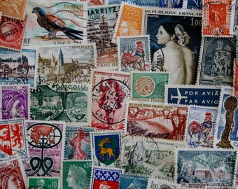 50 French Postage Stamps // Vintage & Modern Mixed Lot // France Stamps // Scrapbooking // Collage // Paper // Ephemera // Travel Journal