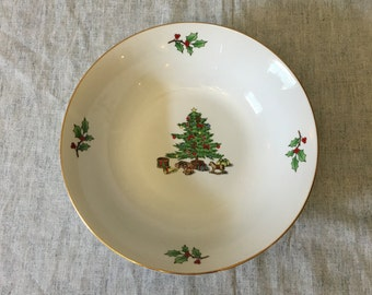 Vintage Meiwa Home For the Holidays Vegetable Serving Bowl, Gold Trimmed Christmas Tree Dishes