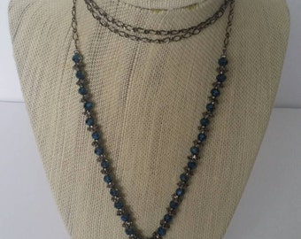 Dark blue Drury necklace with beaded chain