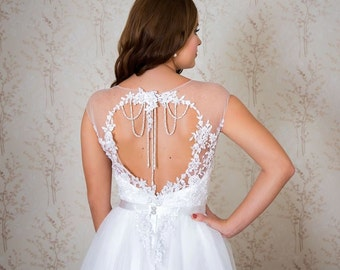 Unique wedding dress/ Lace and tulle wedding dress/ A-line wedding dress/ Romantic wedding gown/ Cassandra gown