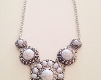 Modern bib statement necklace