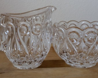 Vintage Crystal Scalloped Scroll Sugar and Creamer - Alternating S Scrolls in Scalloped Crystal - Lovely!