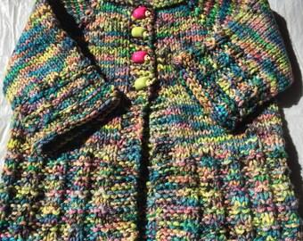 Hand Knit Baby Girl Cardigan in Fun Multi-Color Merino Wool