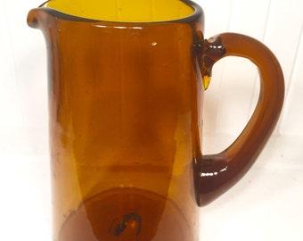 Vintage Hand Blown Dark Amber Glass Pitcher