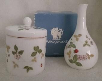 Wedgewood Bud Vase & Candy Jar, Wild Strawberry Pattern, Bone China