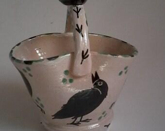 Handmade ceramic pottery flower vase/crow vase/crows/raven/corvid/ whimsical art/artist designed/crow pottery/crow art/corvid art/folk art
