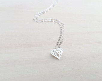 Triangle diamond necklace, triangle necklace, diamond necklace, diamond origami necklace, simple necklace in silver and gold