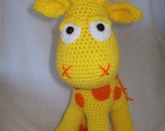 Giraffe Neli Hand Crochet,in bright yellow and orange,ages 3 & up,Is about 16 in tall