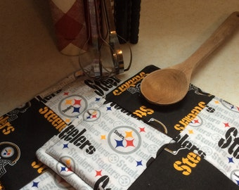 NFL Pittsburgh Steelers Hot pads-Pot holders,Handmade,Quilted, Black, Gold