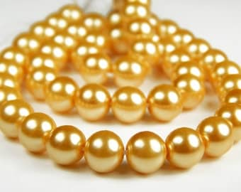 8 Inch Strand - 8mm Round Golden Yellow Glass Pearl Beads - Spacer Beads - Jewelry Supplies