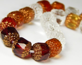 10 Pcs - 10mm Mixed Cathedral Beads - Topaz/Cranberry/Crystal Mix - Czech Glass Beads - Barrel Beads - Glass Beads - Jewelry Supplies
