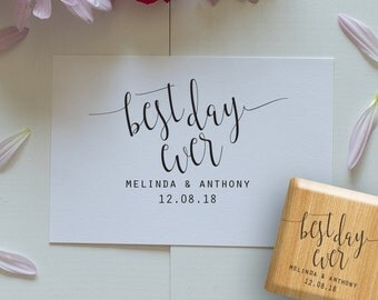 Wedding Stamp, Best Day Ever Wedding Stamps for Favors, Wedding Stamps for Tags, Can be personalized