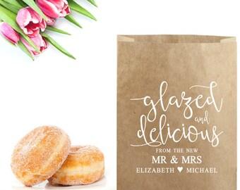 Donut Wedding Favor Bag Stamp - Glazed & Delicious From the Mr and Mrs Stamp - Wedding Donut Favor Bag - Wedding Bag Labels - Donut Box