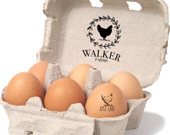Chicken Egg Carton Stamp | Custom Farm Stamp | Farm Tag | Egg Carton Label | Egg Packaging | Vintage Chicken Stamp | Farm Name Stamp