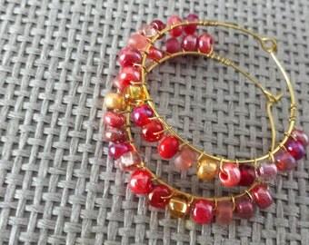 Beaded wire wrapped hoop earrings